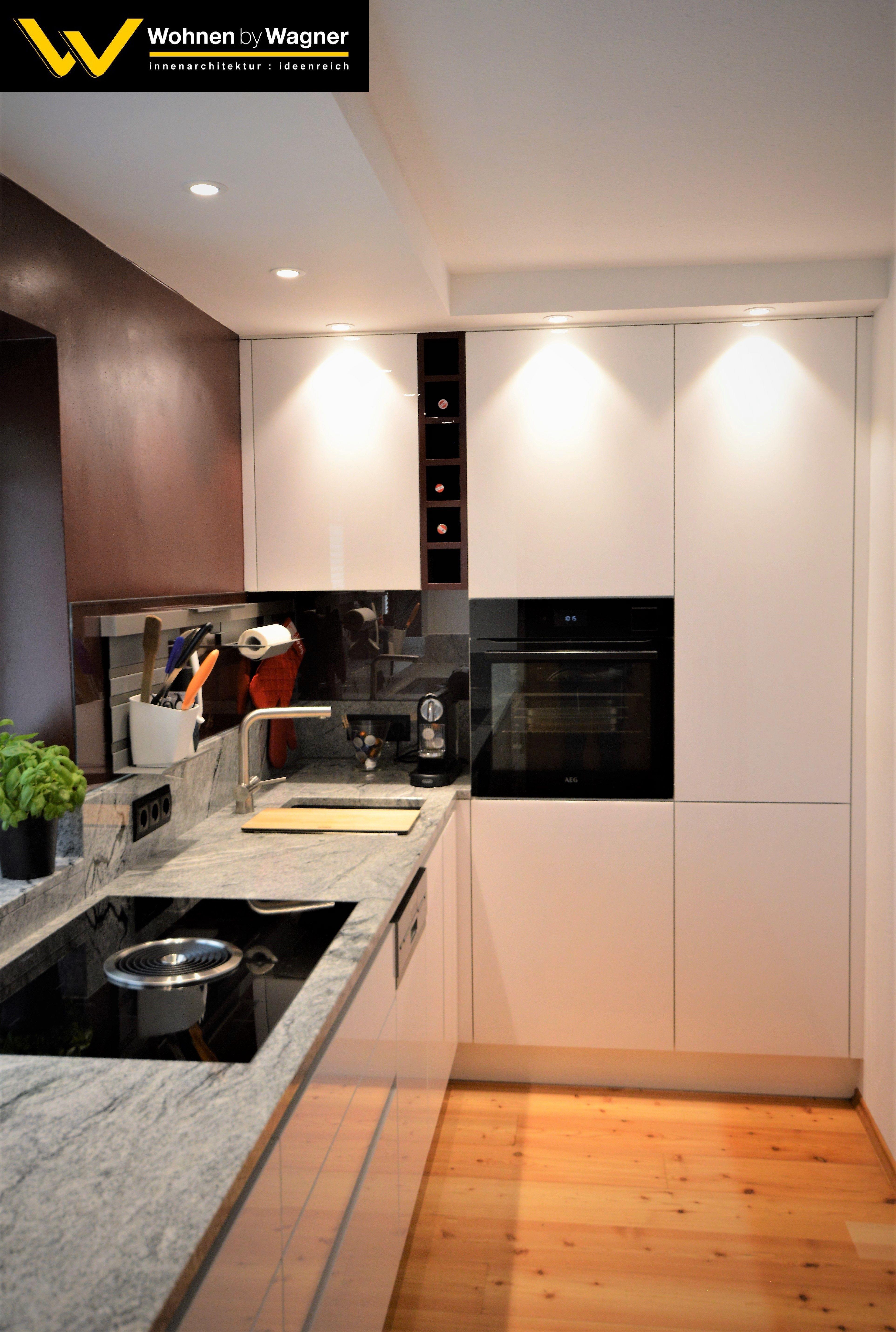 Küche mit Acryl-Glas- glänzender Front  Moderne küche, Küche