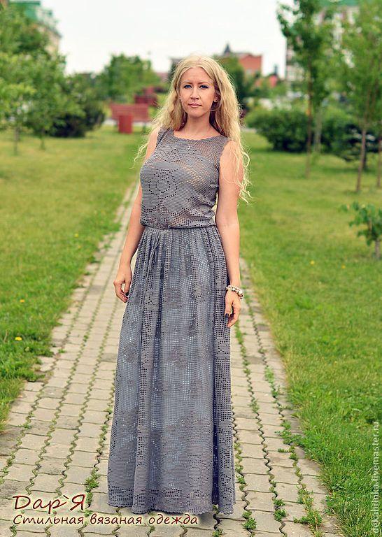 Вязание крючком платье из роз