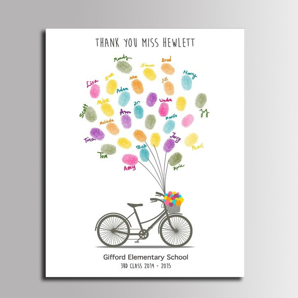 fingerprint unterschrift leinwand malerei fahrrad tour luftballons diy g stebuch geschenk f r. Black Bedroom Furniture Sets. Home Design Ideas