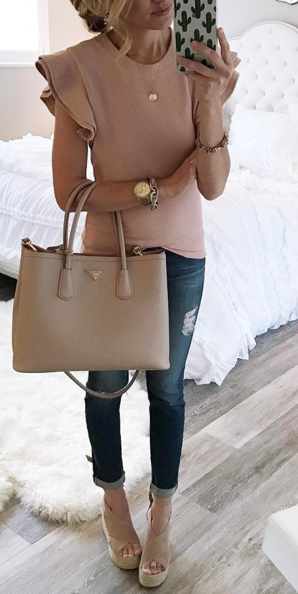 9ca717b9ef50 Nude flared sleeve top, ripped jeans, wedges, and a nude tote ...