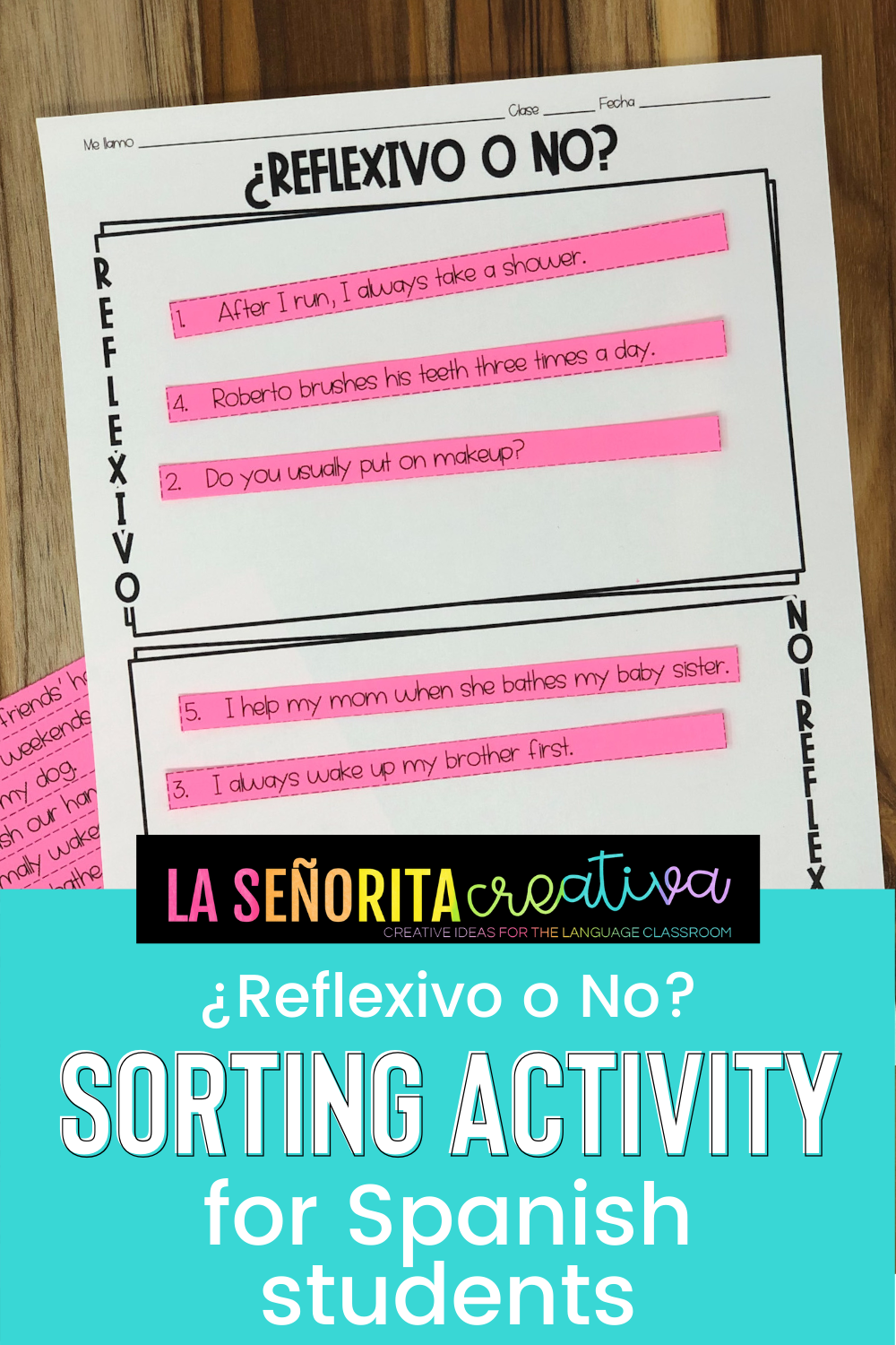 Reflexive Verbs Spanish Sorting Activity And Worksheets Sorting Activities Spanish Students English Sentences [ 1500 x 1000 Pixel ]