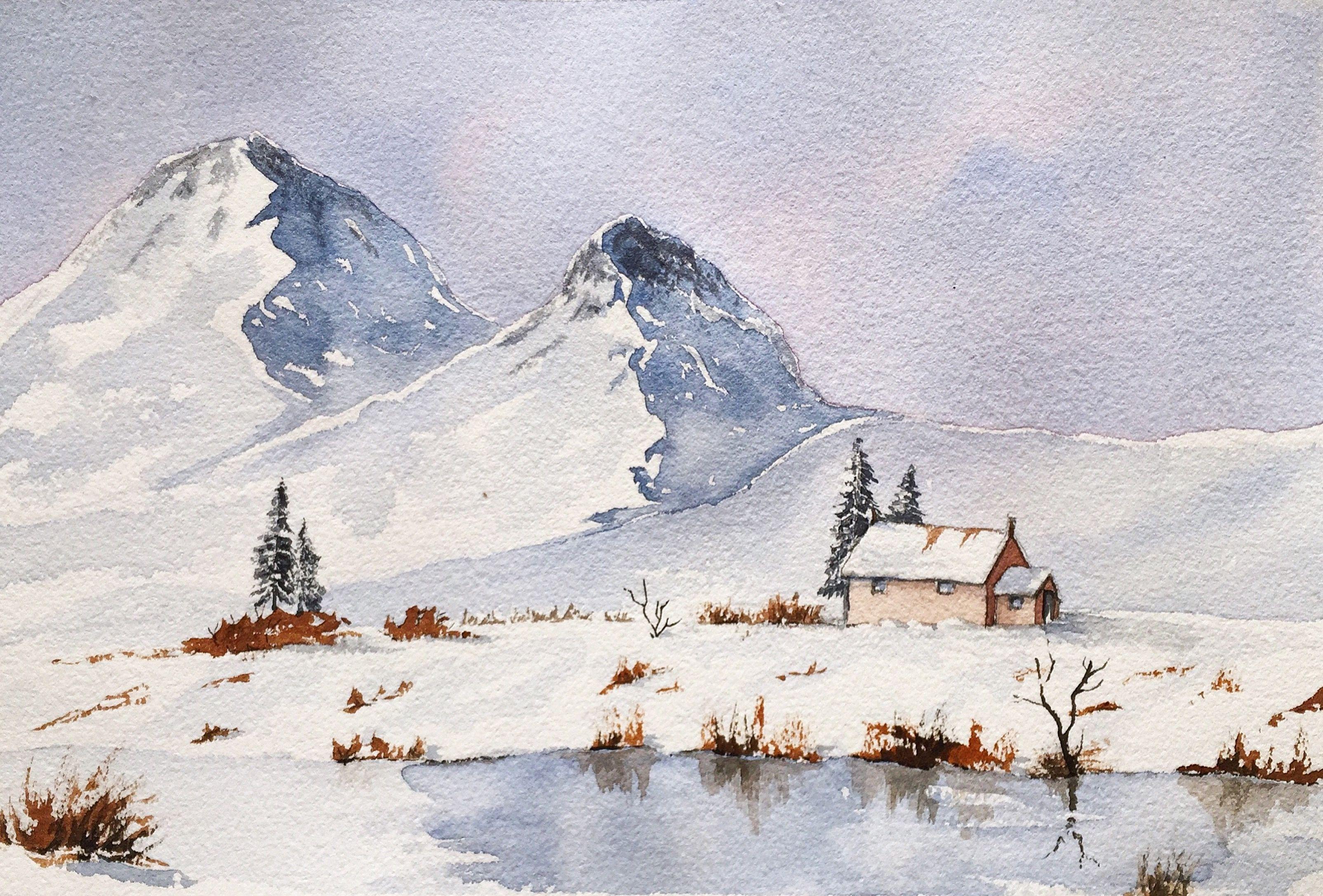 Snow Mountain Watercolor Aquarel Aquarel Les Schilder