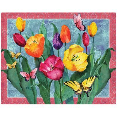"Magic Slice Tulips w/Butterflies by Paul Brent 12"" x 15"" Non-Slip Flexible Cutting Board"