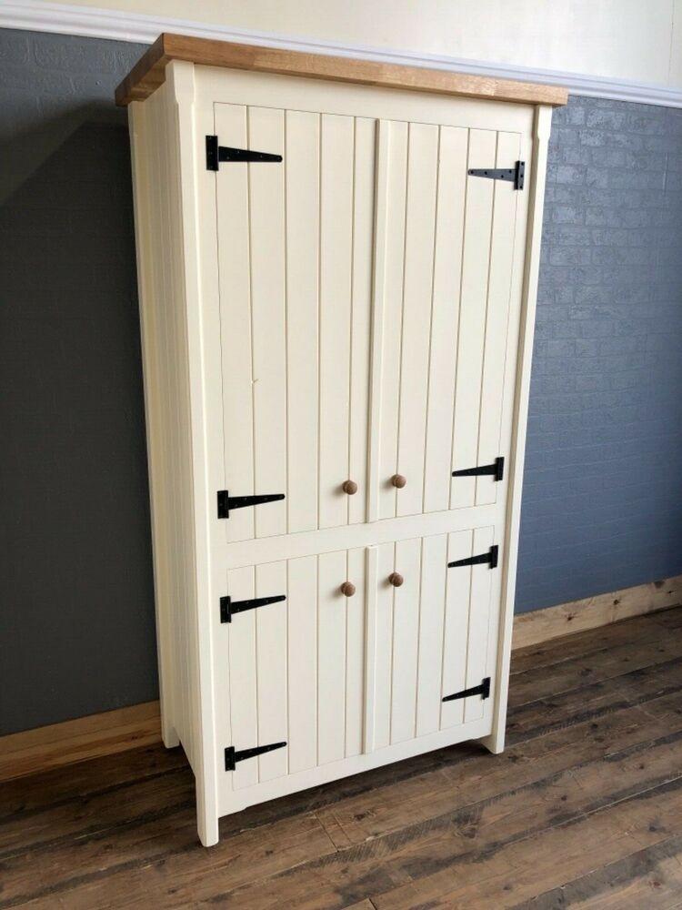 big rustic pine and oak kitchen freestanding unit pantry
