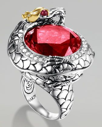 "John Hardy Batu Naga Pave Diamond Ring, Ruby - Naga means ""dragon"" in Balinese and is a symbol of health and prosperity. •Sterling silver with 18-karat yellow gold accents.   •Naga dragon wrapped around face features African ruby eyes.  •Round-cut synthetic ruby center with pave diamond trim.  •0.28 total diamond carat weight.  •Handcrafted in Bali."