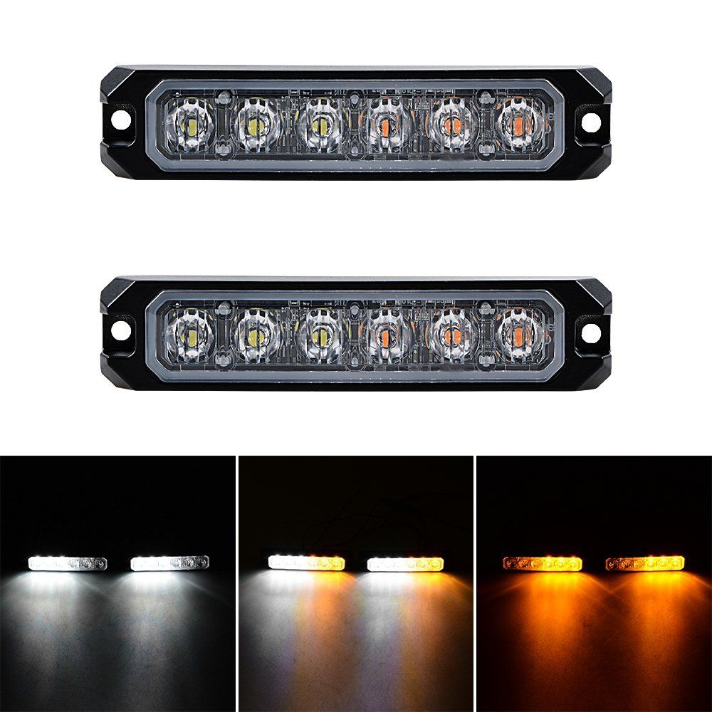 Amazon Com 30w Ip68 6 Led Emergency Warning Sync Strobe Light Surface Mount Car Truck 12v 24v 2pcs White Amber Strobe Lights Strobing Light