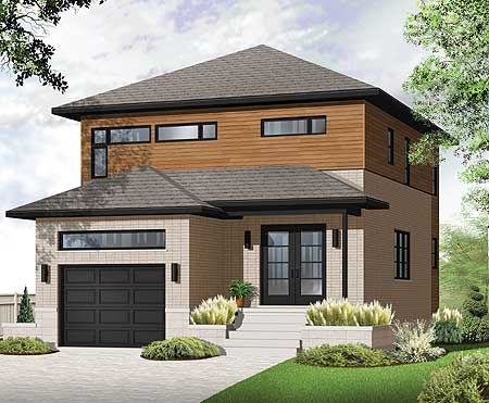 Plan 22306dr modern look for narrow lot attached garage for Contemporary house plans for narrow lots