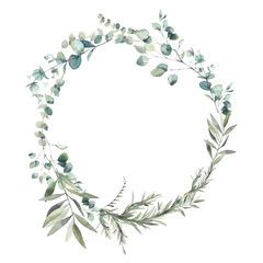 Photo of Watercolor green combination. Wreath of eucalyptus branches and olive tree leaves. Hand painted floral clip art: round frame isolated on white background. – Buy this illustration and find illustrations on Adobe Stock