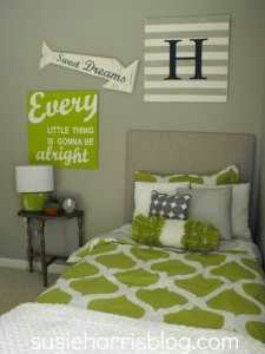 gray and green bedroom | green grey bedroom | boy room ideas | bed
