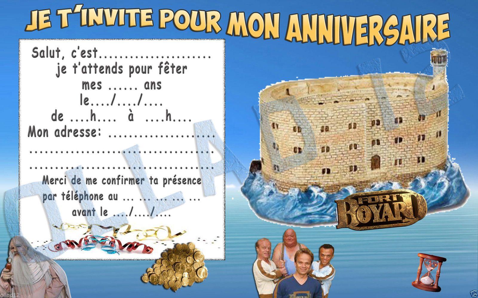 Cartes Invitation Anniversaire Fort Boyard Papier 250gr
