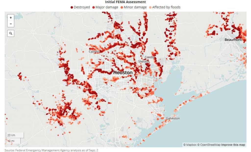 Fema Flood Data Shows Harvey S Broad Reach Hurr Harvey Pinterest