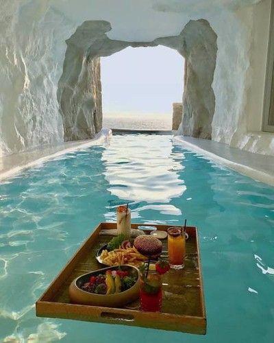Cave pool. Mykonos, Greece. via reddit