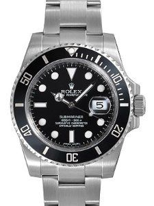 Rolex Submariner Black Dial Ceramic Bezel Steel Mens Watch 116610LN - Product Description:Stainless steel case with a oyster bracelet. Fixed diamond bezel bezel. Black dial with hands hands and stick hour markers. Minute markers around the oter r