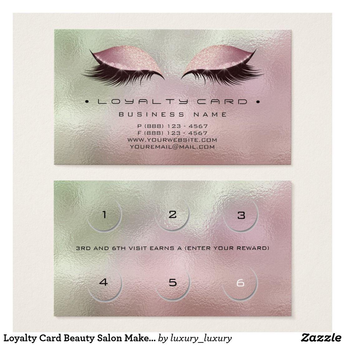 Loyalty Card Beauty Salon Makeup Copper Rose Mint