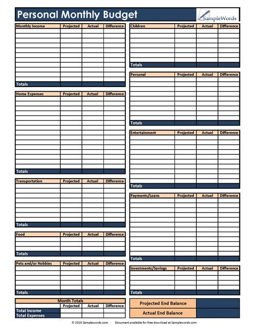 Personal Monthly Budget Form – Personal Budgeting Worksheets