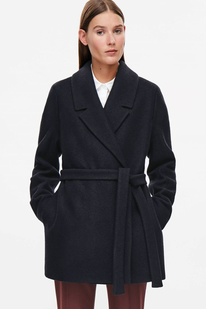 COS image 2 of Short belted wool coat in Navy