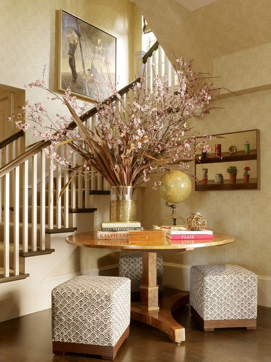 Bon Entry With Chairs Design, Pictures, Remodel, Decor And Ideas   Page 5. Pedestal  Table, Tall Floral Arrangement, Entry Chairs