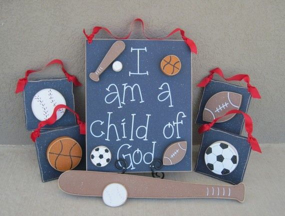 Set of Sports Themed Boy Decor with a CHILD OF GOD sign (blue) for ...