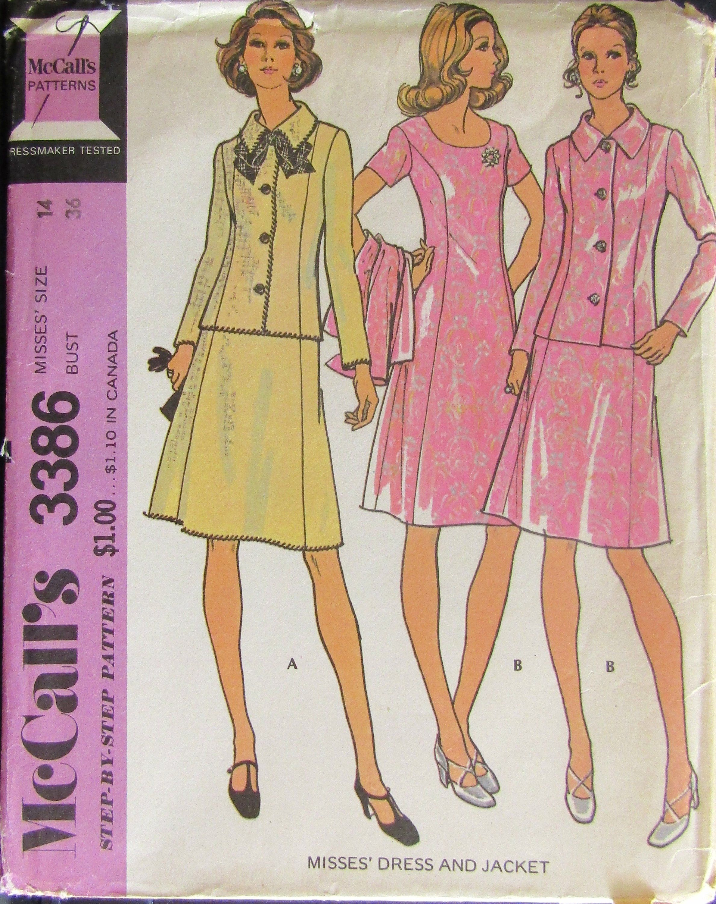 d4a4f1ab8c McCalls 3386 Misses Dress   Jacket Sewing Pattern Size 14 Bust 36 Uncut by  SimpsonDesignsStudio on Etsy