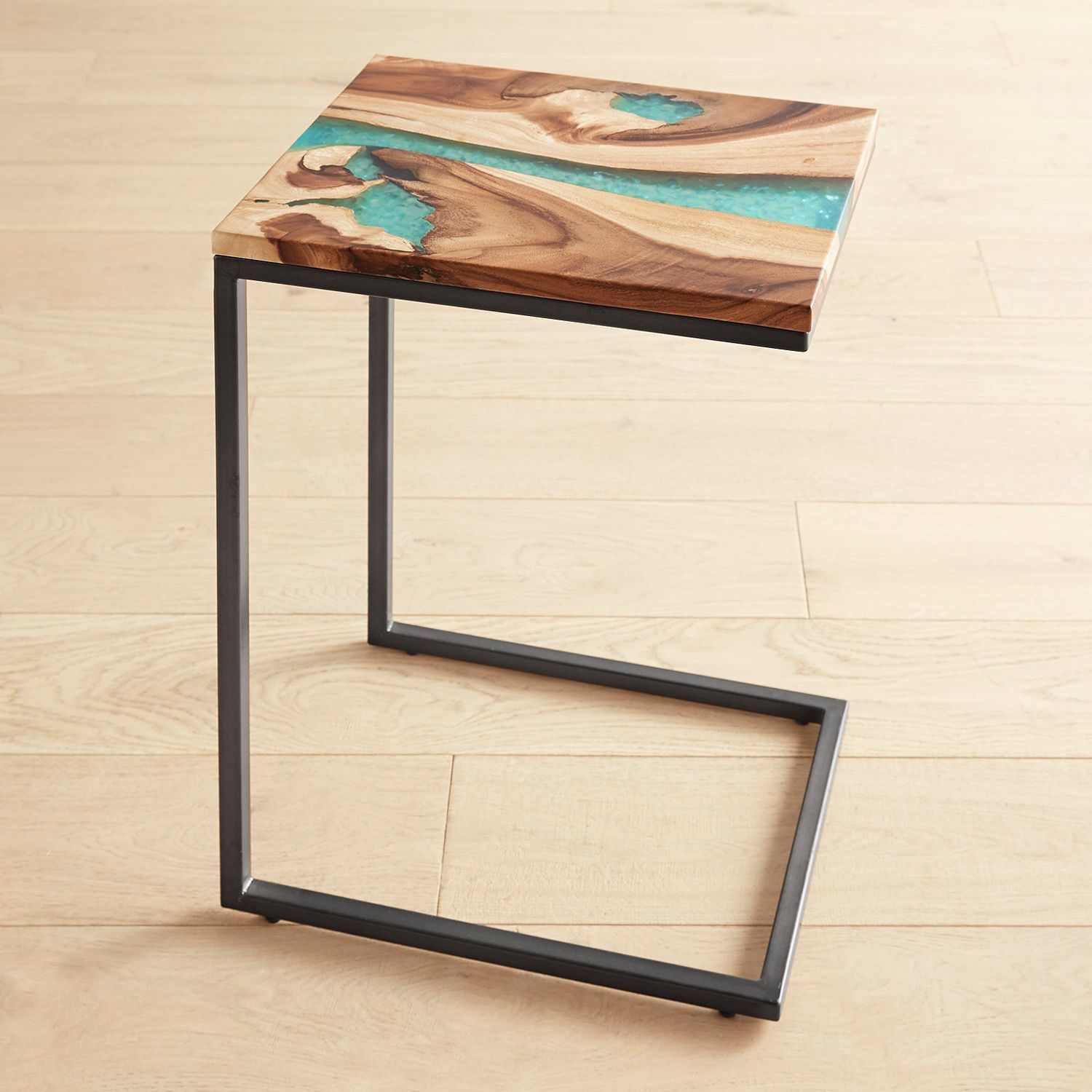 Moraine Wood Teal Resin C Table Pier 1 Imports C Table Wood