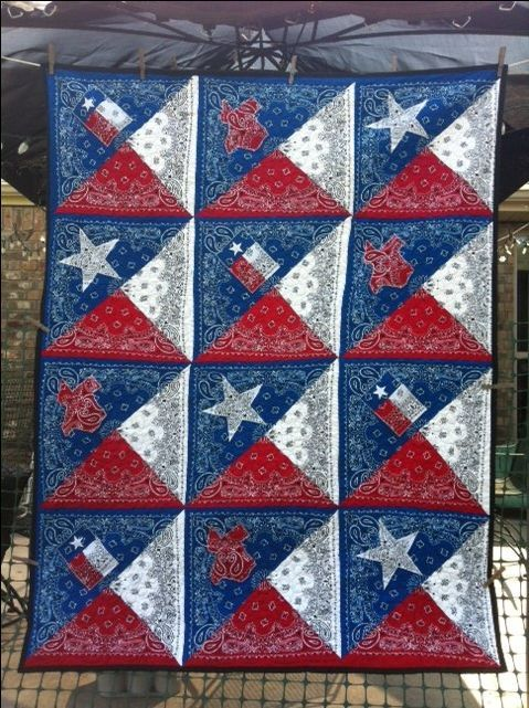 Popular Texas Bandana Quilt. Red, white, and blue bandanas cut and re  YJ47
