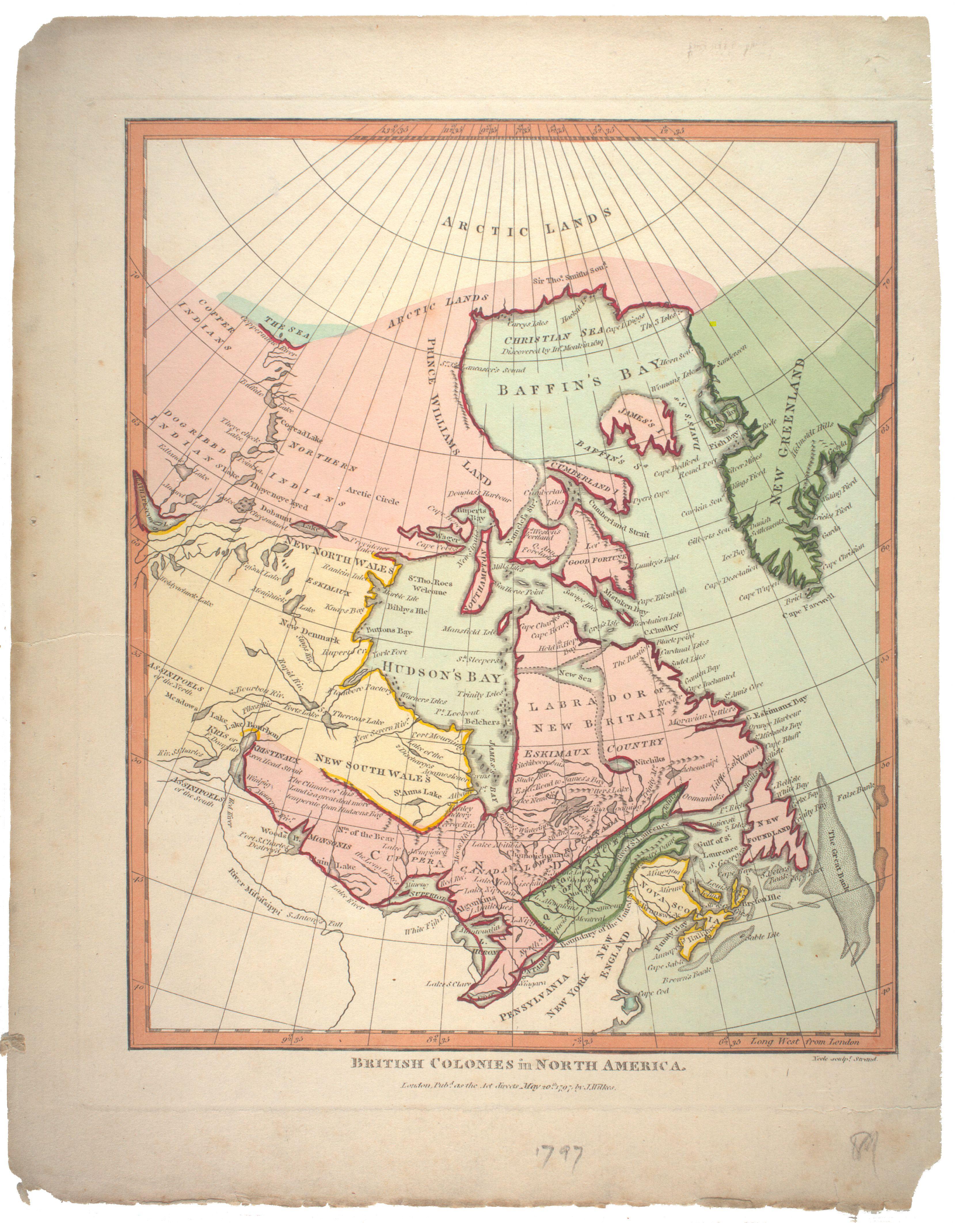 1797 British Colonies in North America / John Wilkes. Scale ...