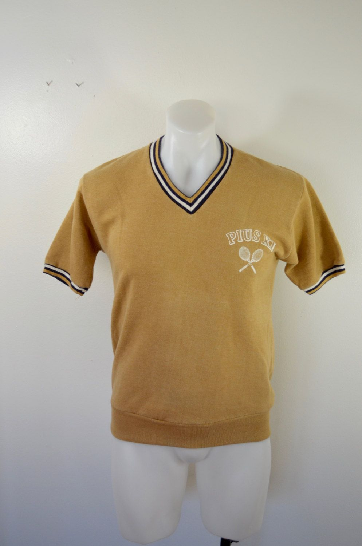 a249eeab Vintage CHAMPION short sleeve sweatshirt RUNNING MAN logo 1950's large Pius  Xi high school Milwaukee by ilovevintagestuff on Etsy