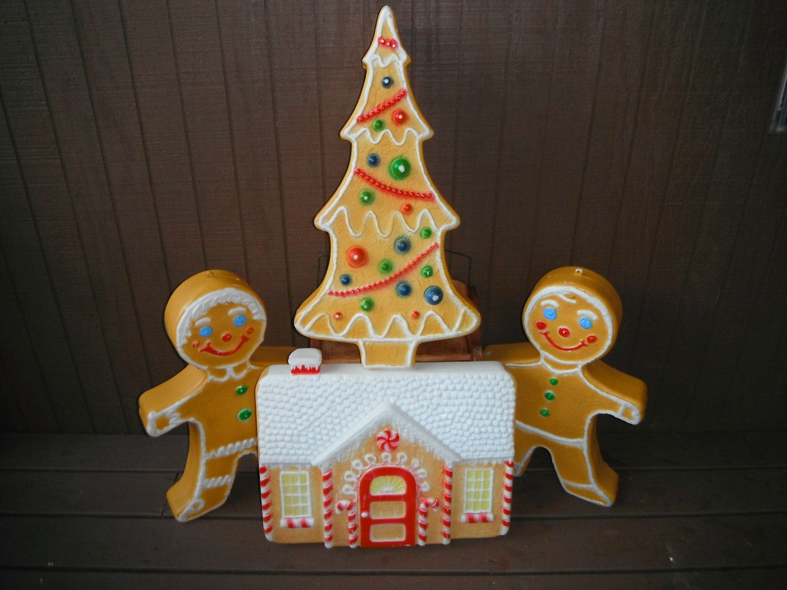 Vintage Don Featherstone Christmas Gingerbread Boy Girl House Tree Blow