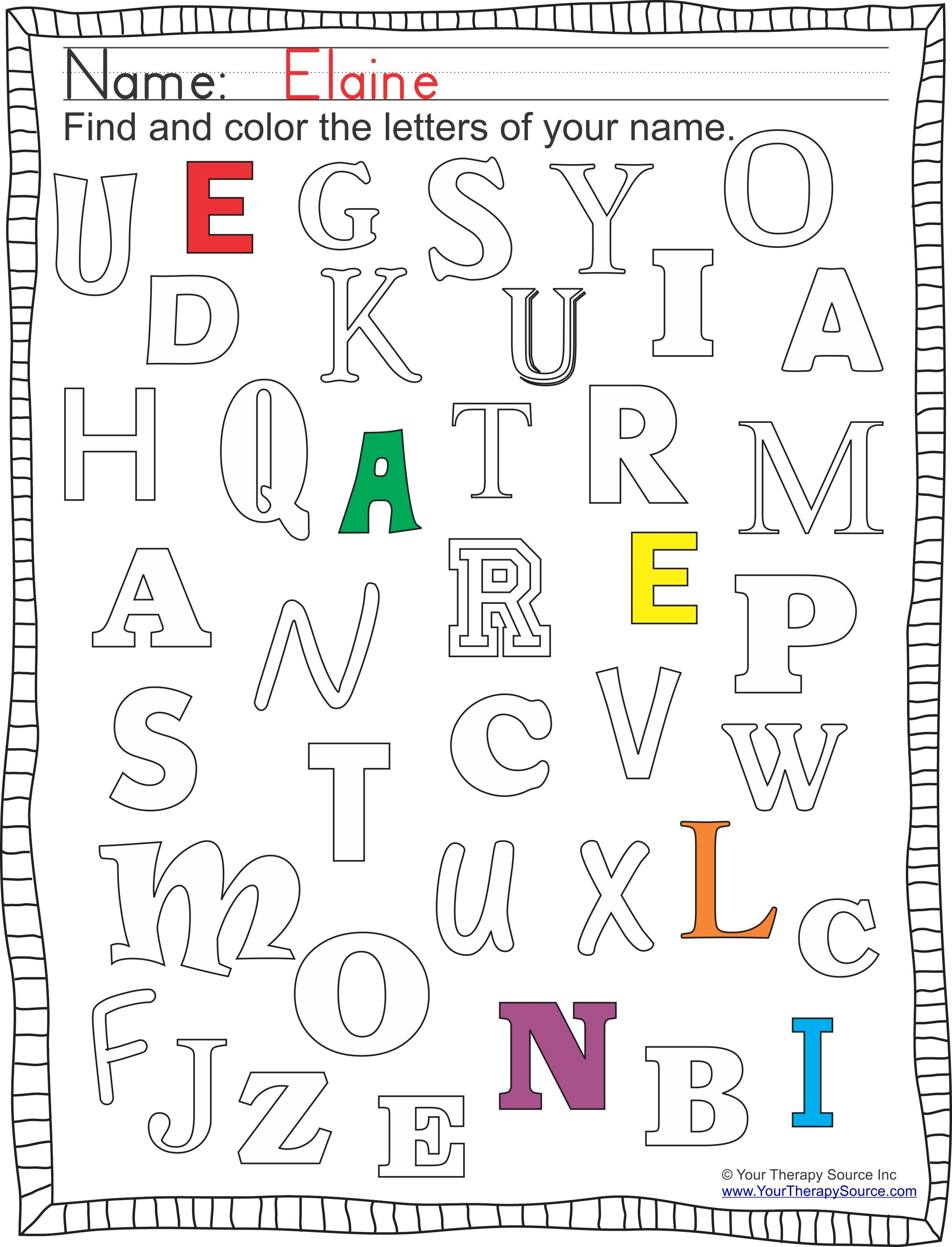 Find And Color Your Name