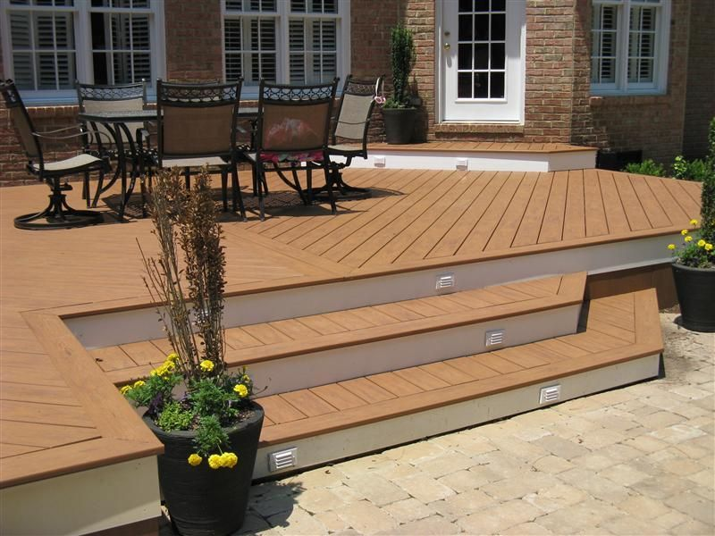 Best A Wide Deck Stair Design Opens Up The Deck To Your Patio 400 x 300