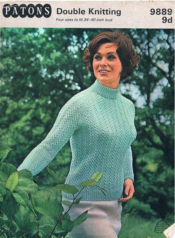 044effea9893 Vintage Knitting Pattern PDF  1960s Patons Double Knitting Raglan ...