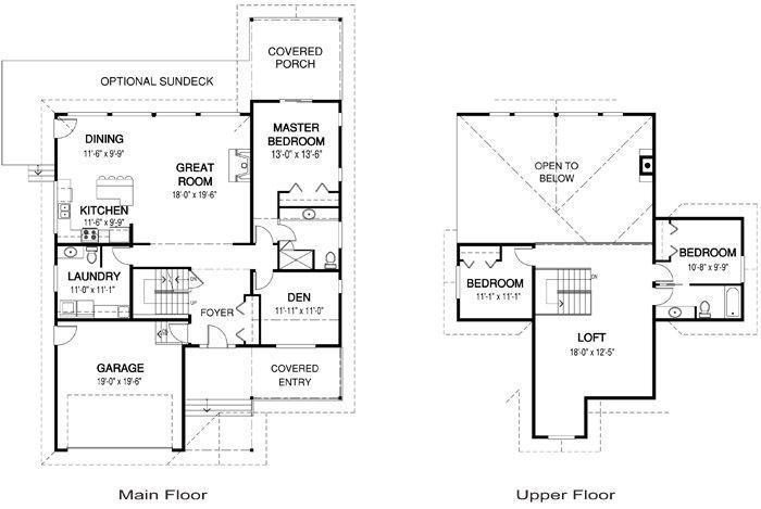 House Plans Lochlin Linwood Custom Homes Great Split Jake Could Have Upper Floor Cabin House Plans Farmhouse Floor Plans Cottage Floor Plans