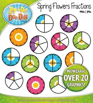 Bright Spring Flower Fractions Clipart — Over 20 Graphics!