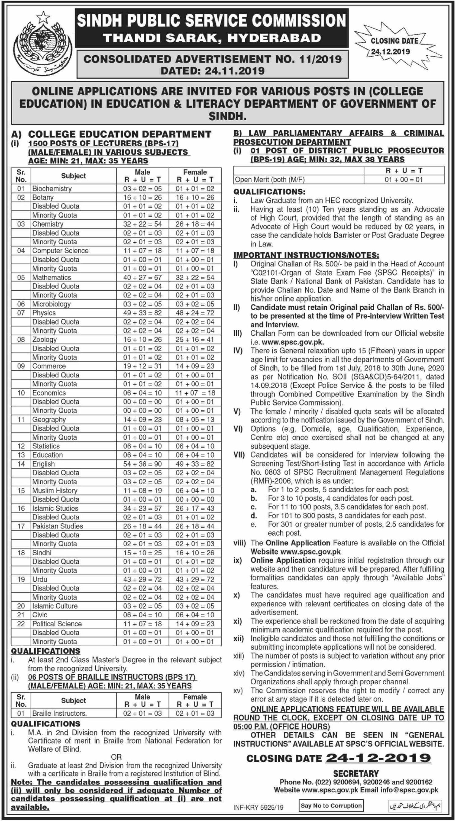 SPSC College Lecturer Jobs 1500 Posts (BPS17) Apply