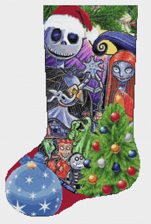 Cross stitch kit christmas sock nightmare before christmas