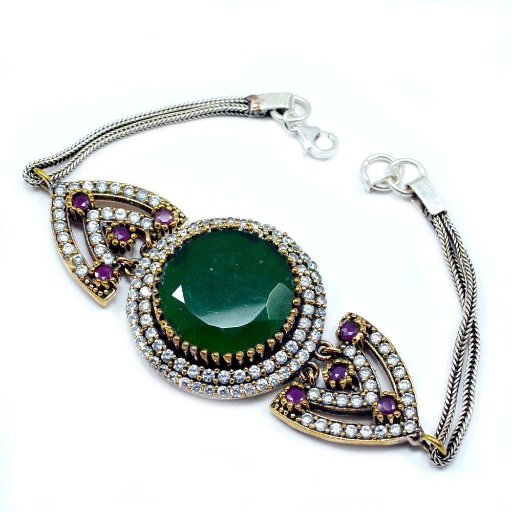 Silvesto india emerald u ruby and white topaz lab sterling