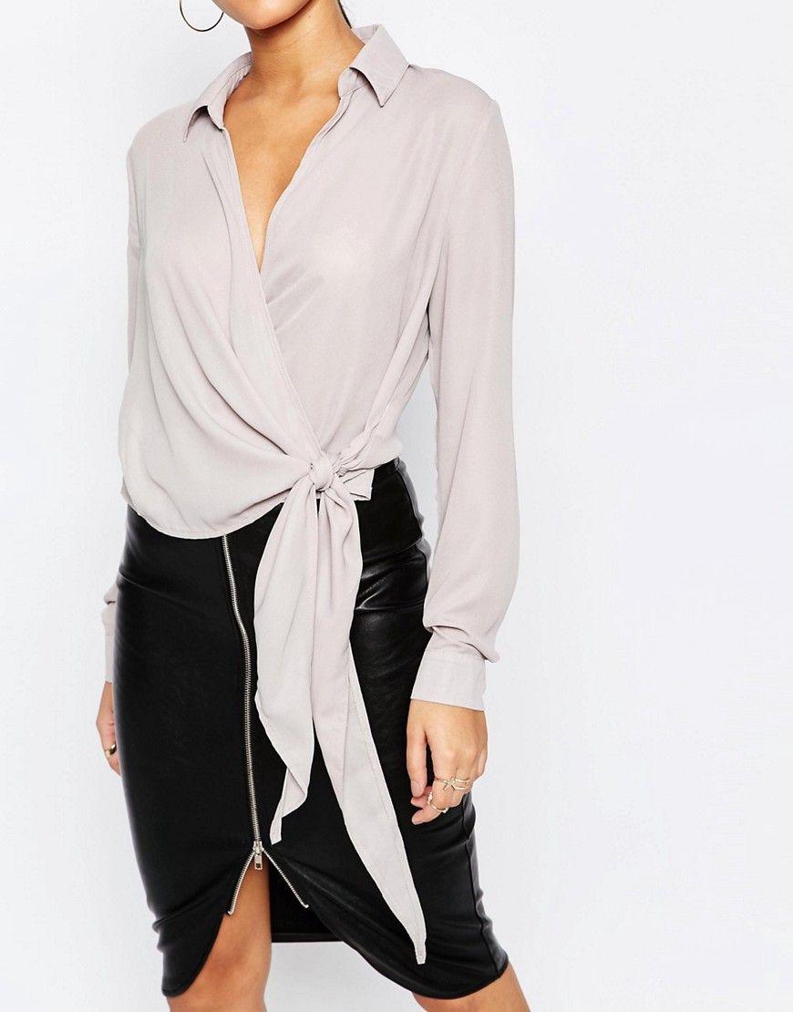Camisa cruzada con lazo en el lateral de Missguided | Clothing and ...