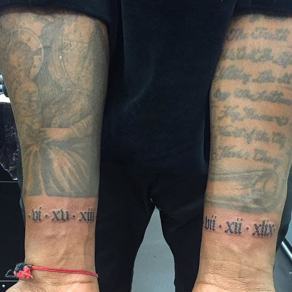 Kanye West S New Tattoos Might Make You Tear Up Kanye West Tattoo Kanye Tattoo Dad Tattoos
