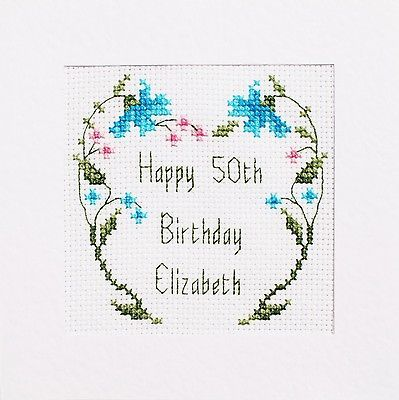 80th Birthday Card Cross Stitch Kit 4 Different Designs 1 Personalised