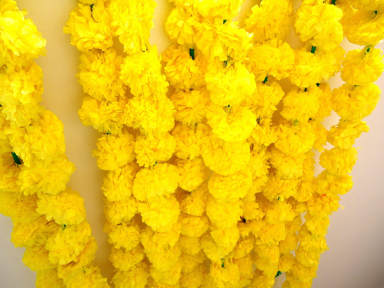 5 Pcs Artificial Marigold Flower Garlands 5 Feet Long Strands wedding Home Decor