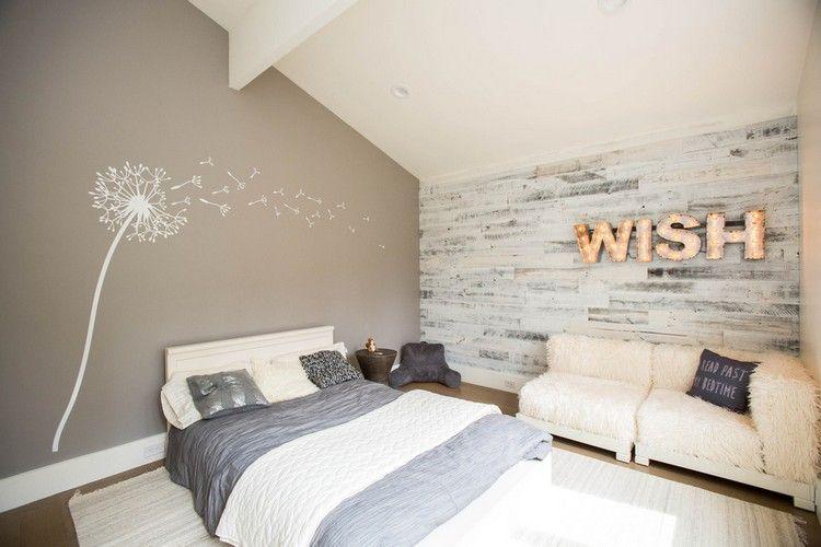 Wandpaneel Holz Weiss Landhaus Schlafzimmer Akzentwand Pusteblume Wandtattoo