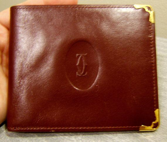CARTIER PARIS Vintage Burgundy Leather Bifold WALLET by LyndiLane, $150.00