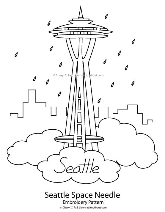 Space Needle Embroidery Pattern Redwork Embroidery Patterns