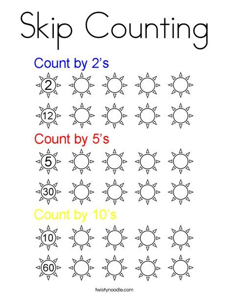 Skip Counting Coloring Page Twisty Noodle Gift of
