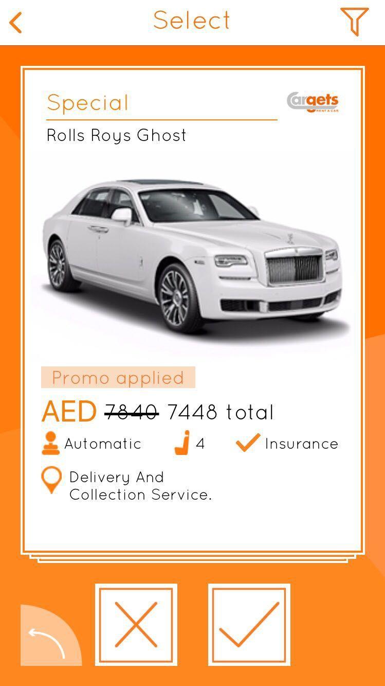 Rent a Rolls Roys Ghost! Car rental app, Car rental