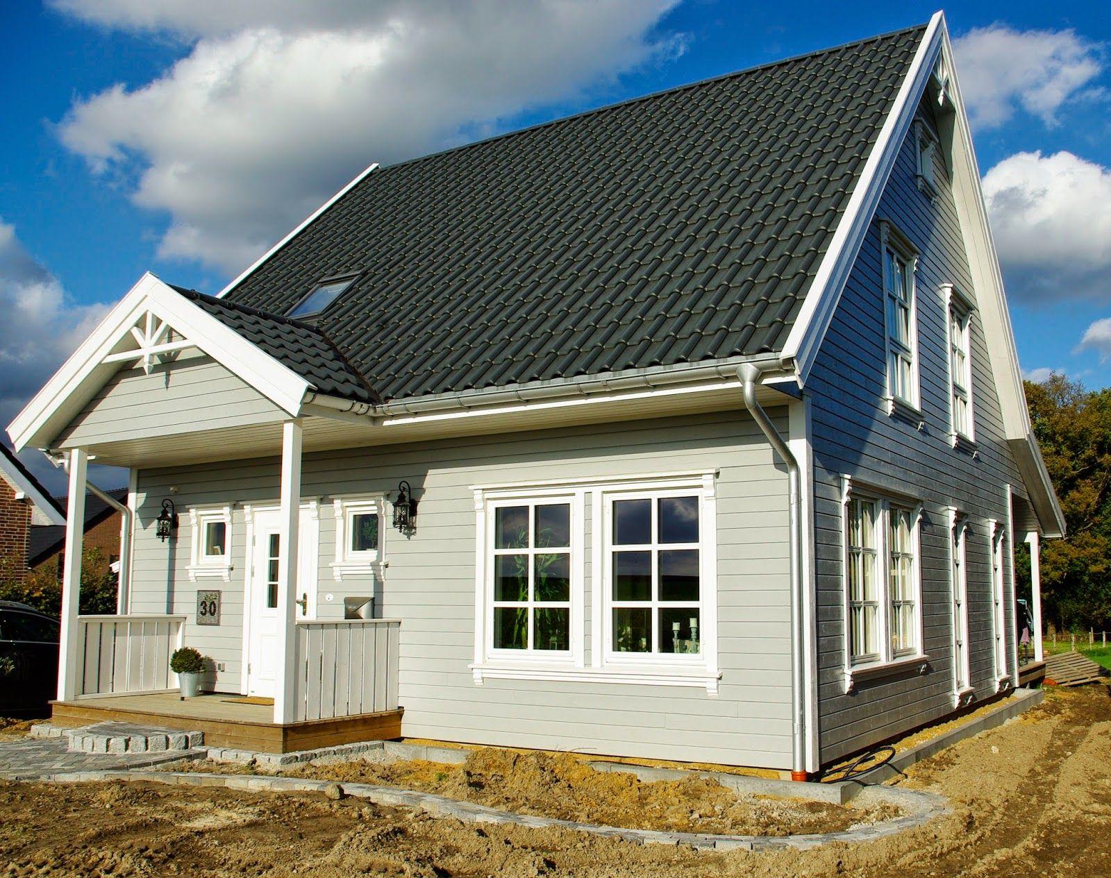 Schwedenhaus Bernd: das Haus ist fertig und bezogen. Die Außenanlagen sind in Arbeit. Baubüro Süd der Akost GmbH: www.bau-dein-schwedenhaus.de #dekoeingangsbereichaussen