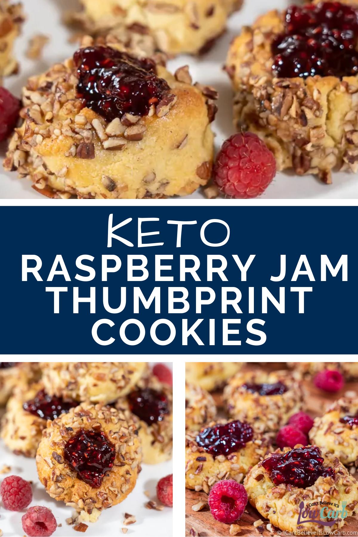 Keto Raspberry Jam Thumbprint Cookies