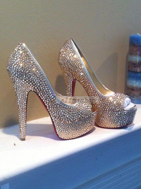 47e820c3f Wedding shoes bridal crystals heels clean/sliver crystals bright heels  brilliant sparking bridal shoes-Red Soles Peep Toe heels