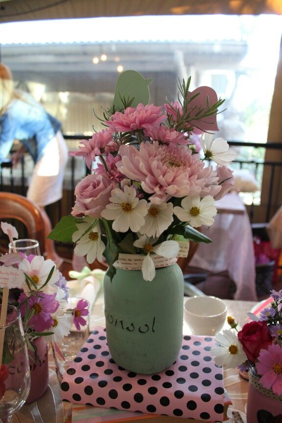 Summer flowers in glass jar