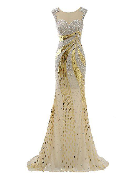 Izanoy Damen Lange Luxus Kristall Meerjungfrau Sexy Zurück Ballkleider Tüll  Abendkleid Gold DE46